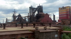 Metallurgical plant with blast furnace works Stock Footage