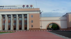 Administration building and main clockhouse are at NTMK factory, Russia Stock Footage