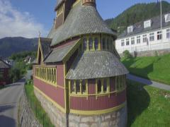 Stock Video Footage of St. Olafs Anglican Stave Church, Balestrand, Sognefjord, Norway