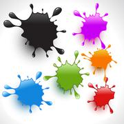 colorful paint splashes set 2 - stock illustration