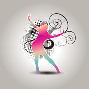 Vector dancing girl Stock Illustration