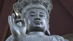 Statue of Bodhisattva Avalokitesvara (Guanyin) Stock Footage
