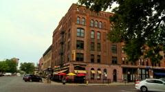 Omaha sidewalk cafe and street - stock footage