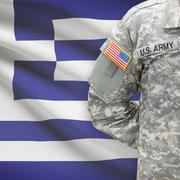 American soldier with flag on background - Greece - Hellenic Republic - stock photo