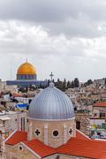 Jerusalem Old City from Austrian Hospice Roof Stock Photos