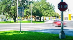 Stop Sign Trraffic Time Lapse Miami Springs Florida Stock Footage