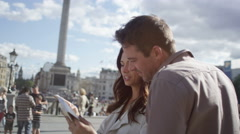 4K Attractive couple sightseeing in London Stock Footage