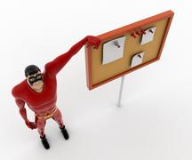 Stock Illustration of 3d superhero pointing at notice board concept