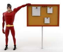 3d superhero pointing at notice board concept Stock Illustration
