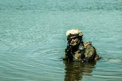 special forces in the water - stock photo