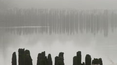 A Quiet River Shrouded In Fog Stock Footage