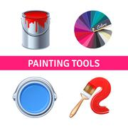 Painting Tools Realistic Set - stock illustration
