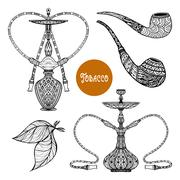 Doodle Smoke Set Stock Illustration
