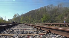 Steam train passing Stock Footage