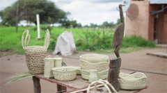 Homemade artisanal products made by indigenous of Formosa in Argentina Stock Footage