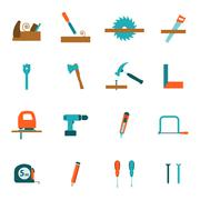 Carpentry tools flat icons set Stock Illustration