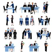 Stock Illustration of Human resources concept flat icons set