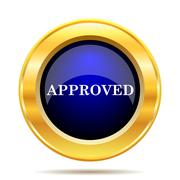 Stock Illustration of Approved icon. Internet button on white background..