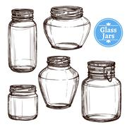 Glass Jars Set - stock illustration