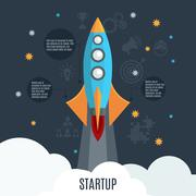 Business startup rocket launch flat poster - stock illustration