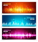 Equalizer sound waves display banners set - stock illustration