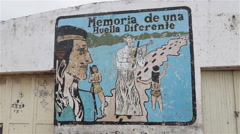 Drawing in Native people Center in Formosa Argentina Close UP Stock Footage