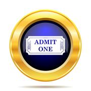 Admin one ticket icon. Internet button on white background.. Stock Illustration
