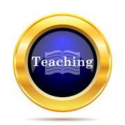 Teaching icon. Internet button on white background.. - stock illustration