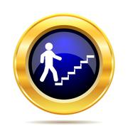 Stock Illustration of Businessman on stairs - success icon. Internet button on white background..