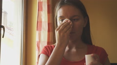 Woman cleaning face with cotton swab pad. 4K Stock Footage