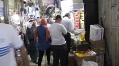Walk through busy middle eastern market in Jerusalem, Israel Palestine Stock Footage