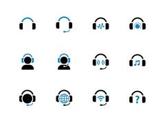 Stock Illustration of Headphone duotone icons on white background