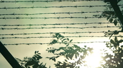 Prison with a barbed wire fence  Stock Footage