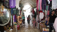 Palestinian shops in middle east market in Jerusalem old ancient city, Israel Stock Footage