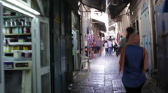 Walk through market alleyways in Jerusalem, Israel Palestine Stock Footage