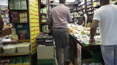 Spice shop in middle east market in Jerusalem, Israel Palestine Stock Footage