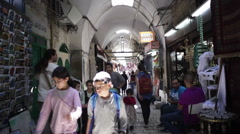 People in middle east market in Jerusalem old ancient city, Israel Stock Footage