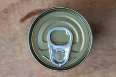 Closeup shot from the pull ring on a beverage can - stock photo