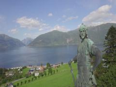 Bronze statue of Frithiof, Vangsnes, Sognefjord, Sogn og Fjordane, Norway Stock Footage