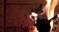 Burning log fire Stock Footage