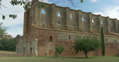 San galgano abbey exterior pan Stock Footage