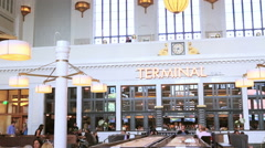 Redeveloped interior of historical Union Station in Denver, Colorado. Stock Footage