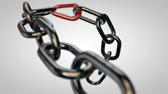 Rusty chain with the weakest link - stock illustration