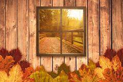 Composite image of square shape glass window Stock Photos