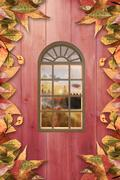 Composite image of digitally generated image of arch window Stock Photos