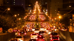 Stock Video Footage of Timelapse View of Long Traffic Jam - Zoom Out