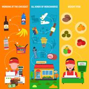 Supermarket Banner Set - stock illustration