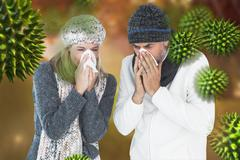 Composite image of couple sneezing in tissue Stock Photos
