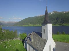 Traditional village church, Oppheim, Voss, Hordaland, Norway Stock Footage