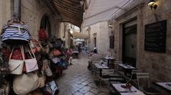 The old city of Dubrovnik, square called Stradun, Stock Footage